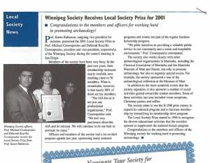 Winnipeg Society Receives Local Prize AIA Newsletter Spring 2002